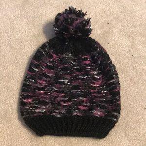 Purple and black beanie